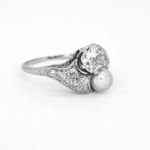 Belle epoque platinum natural pearl and diamond ring