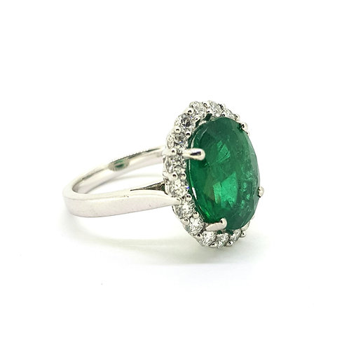 Emerald and diamond cluster ring Zambian E4.53Cts D0.77Cts