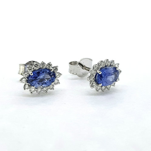 Sapphire and diamond cluster earrings S1.16Cts D0.28Cts