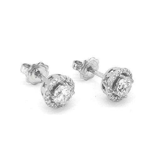 Fixed Halo stud earrings TDW 1.01CTS