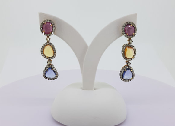 Natural sapphire and diamond earrings s2.69cts d0.89cts