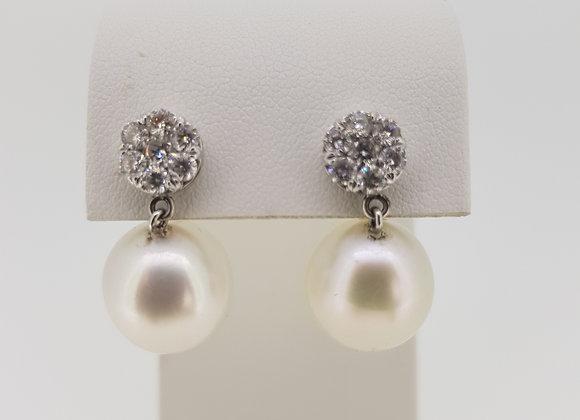 Southsea pearl diamond drop earrings P13.5mm d.80cts