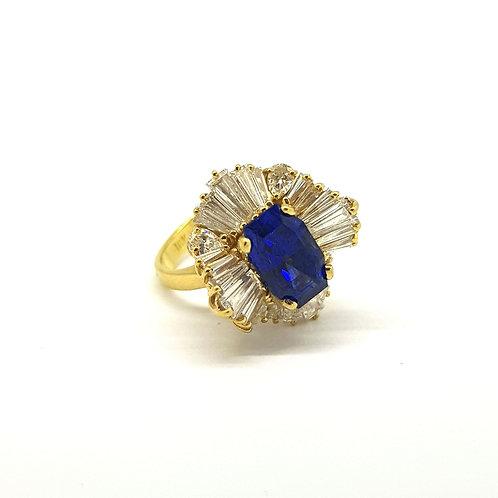 Sapphire and baguette diamond ballerina ring