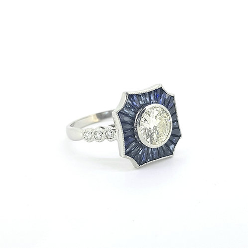 Sapphire and diamond cluster ring CS1.01Cts