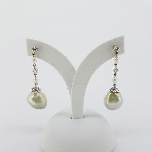 Southsea pearl and diamond earrings