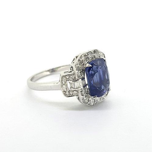 Sapphire and diamond dress ring S3.46Cts D0.71Cts