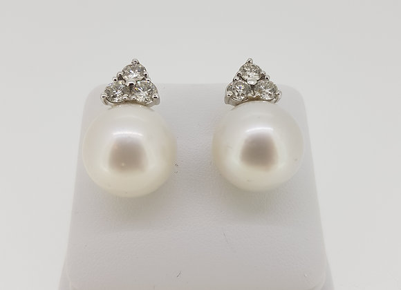 Trefoil top southsea pearl studs 16mm d1.80cts