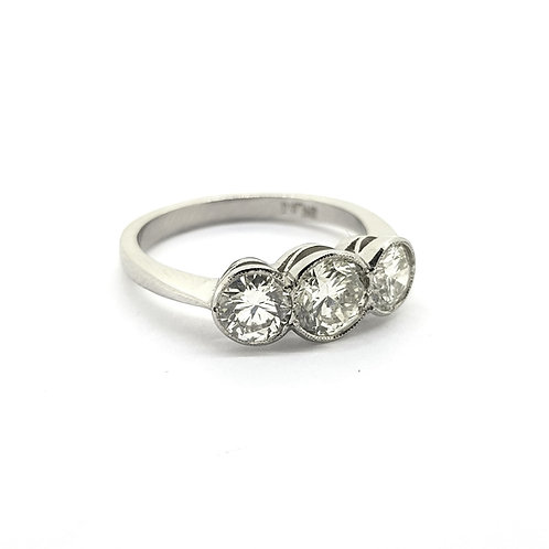Platinum and diamond three stone TDW1.55Cts