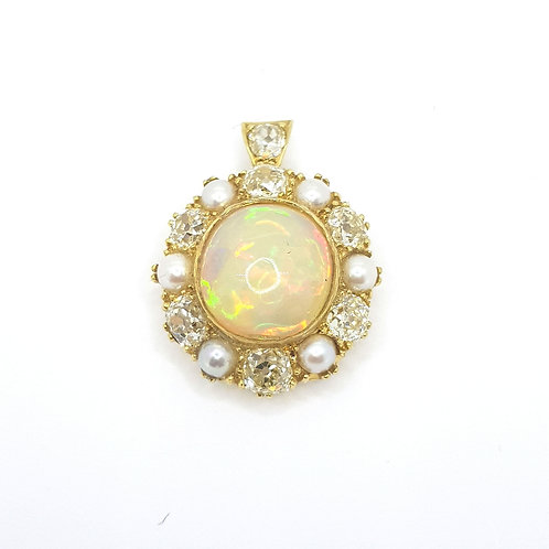 Antique Opal, Pearl and Diamond pendant