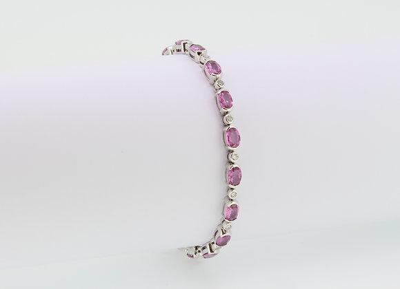 Pink sapphire and diamond bracelet.