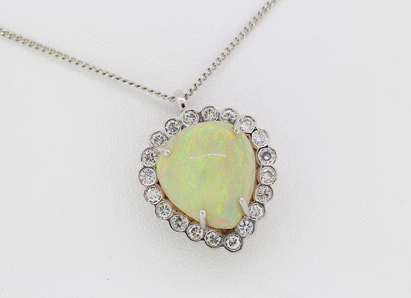 Opal and diamond pendant Opal 10cts D1.10cts est.