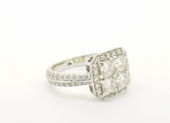 Contemporary 18ct diamond cluster ring.