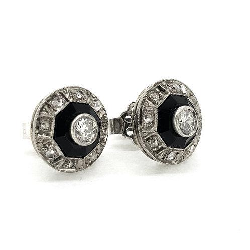 Art Deco onyx and diamond studs