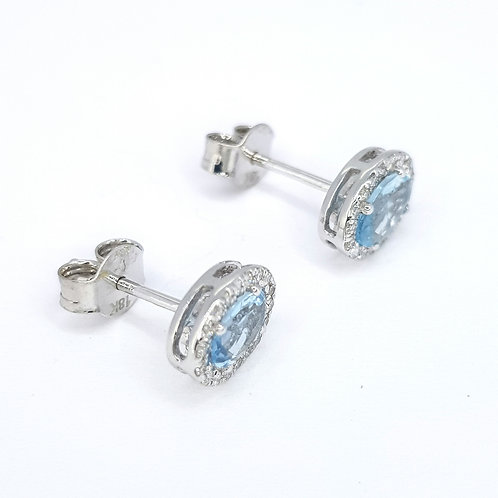 Aquamarine and diamond cluster earrings A0.63CTS D0.19CTS