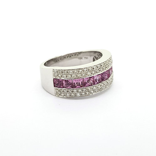 Pink sapphire and diamond band ring