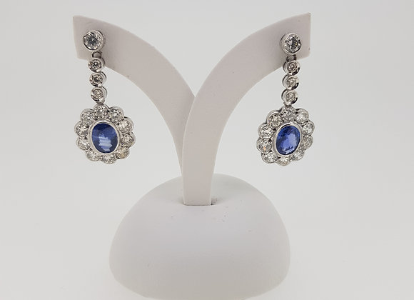 Sapphire and diamond cluster earrings s2.50cts d2.76cts