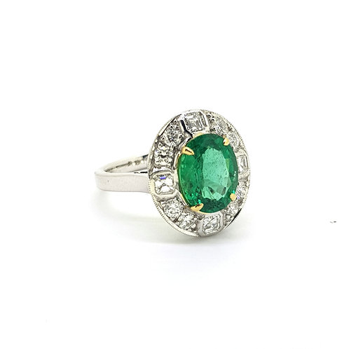 Emerald and diamond cluster ring E2.29Cts RB0.40Cts CS0.50Cts