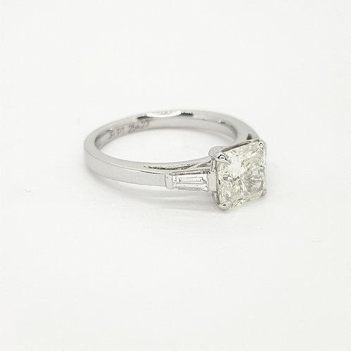 Platinum and diamond radiant cut diamond cs.51ctsx.38cts