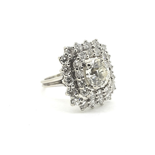 Old cut French diamond cluster - Total diamond weight estimated at 4 carats