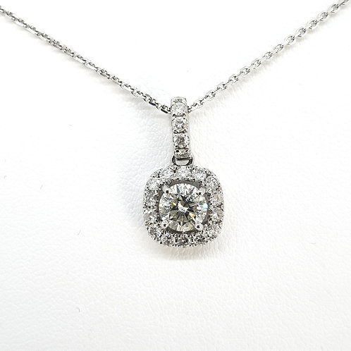 Halo diamond pendant and chain D0.072Cts D0.45Cts
