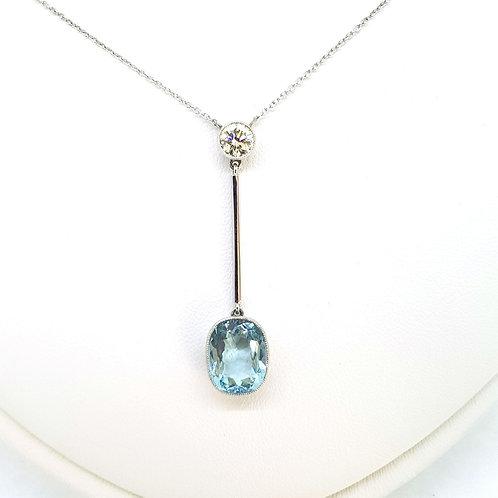 Aquamarine and diamond pendant.