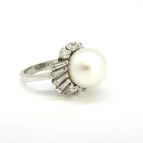 South sea pearl and diamond ring.