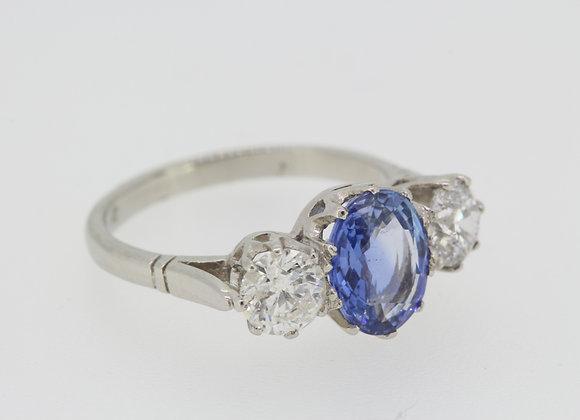 Sapphire and diamond three stone S2.45cts d1.30cts