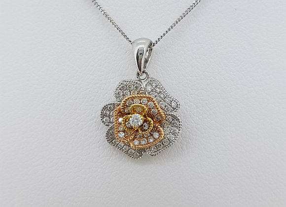 Fancy yellow diamond pendant and chain.