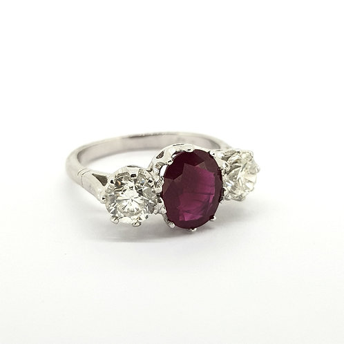 Natural ruby and diamond three stone certified R2.06cts D1.44cts