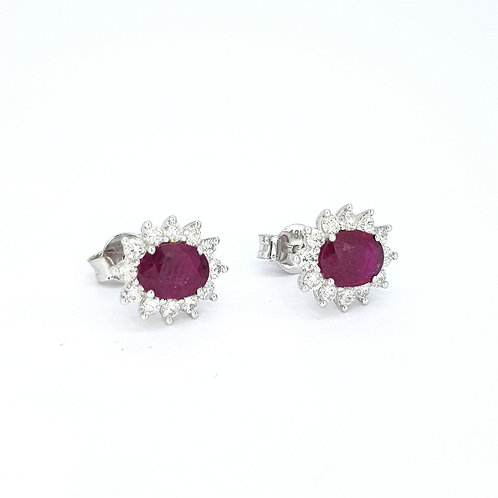 Ruby and diamond cluster earrings R1.62cts D0.62cts
