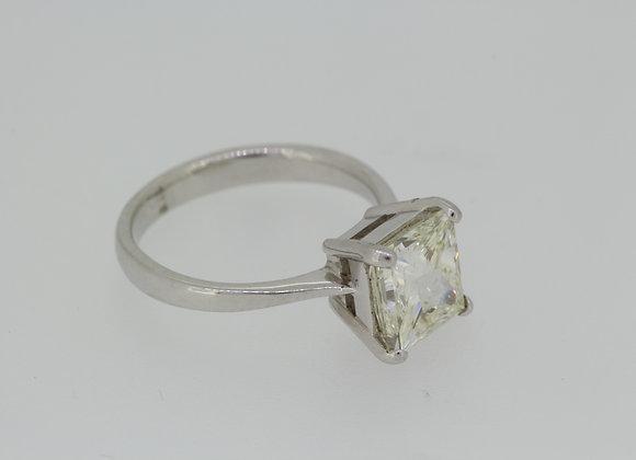 Princess cut single stone diamond ring.