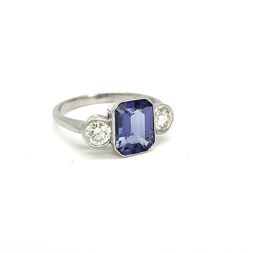 Tanzanite and diamond three stone ring platinum Tz2.20Cts D0.80Cts