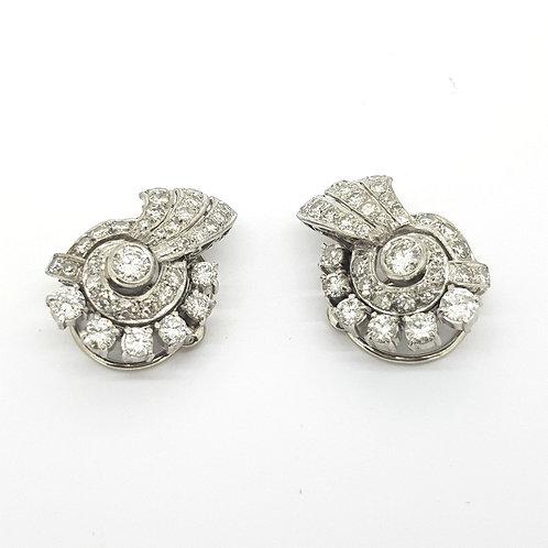 c1940 diamond swirl earrings est.2.0Cts