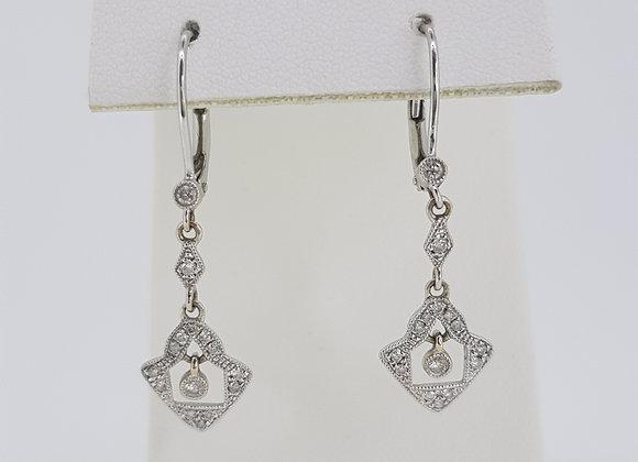 Art Deco style diamond drop earrings.