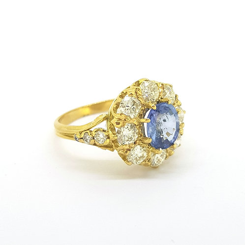 Sapphire and diamond cluster ring old cut diamonds D1.40Cts S1.30Cts