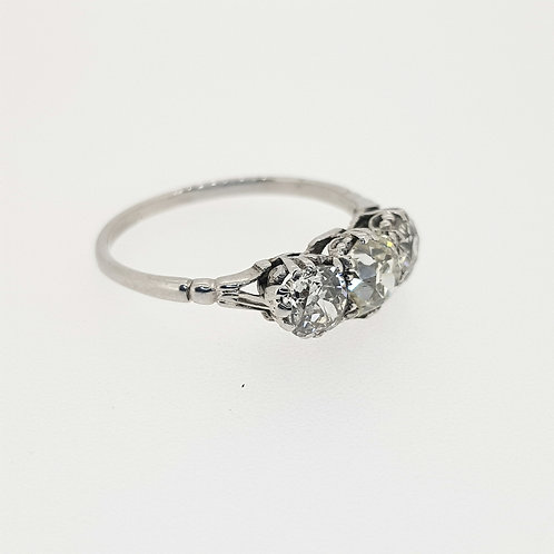 Antique diamond three stone ring est1.50cts