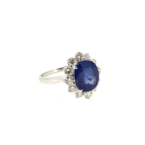Sapphire and diamond cluster S3.87Cts D0.98Cts