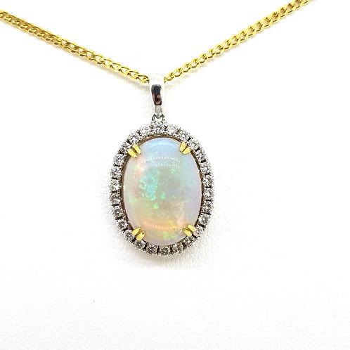 Opal and diamond pendant.