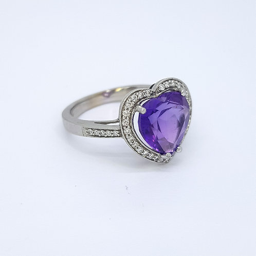 Amethyst and diamond cluster  heart ring