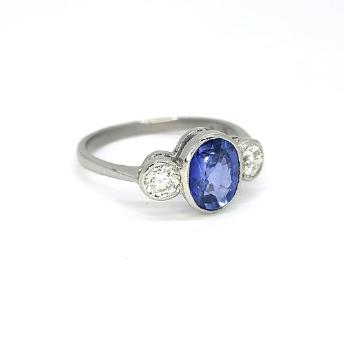 Sapphire and diamond three stone ring platinum S1.25Cts D0.42Cts