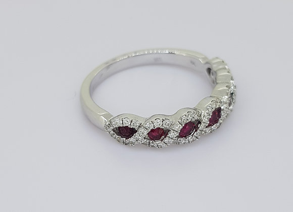 Ruby and diamond crossover ringr0.35cts d0.25cts
