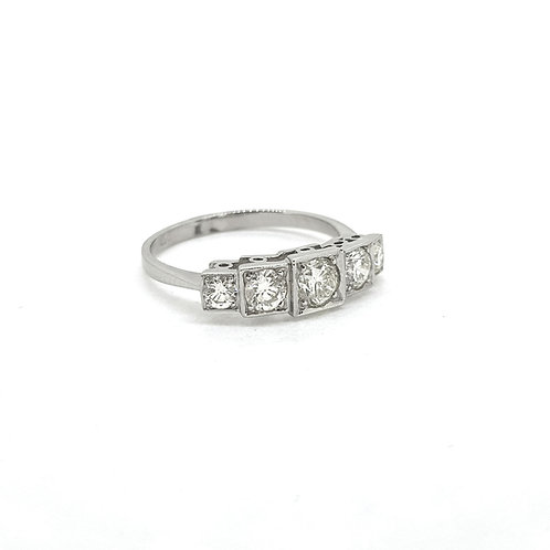 Five stone diamond ring Platinum D0.90Cts
