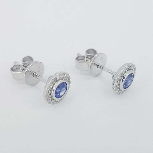 Sapphire and diamond stud earrings S0.40CTS D0.10CTS