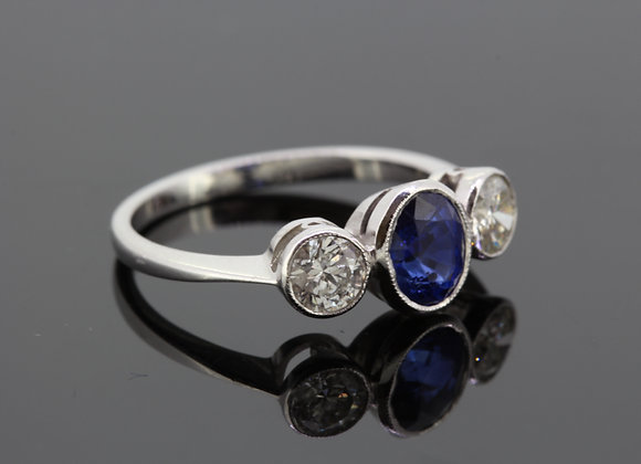 Sapphire and diamond three stone ring s1.15cts d.67cts