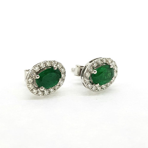 Emerald and diamond cluster studs E1.05Cts D0.25Cts