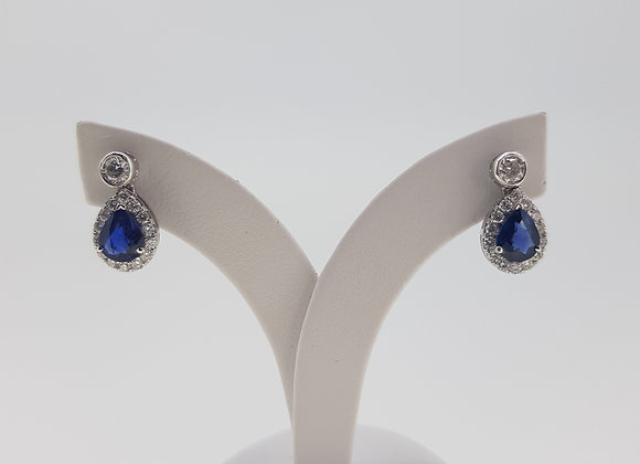Sapphire and diamond cluster earrings s1.23cts d .50cts