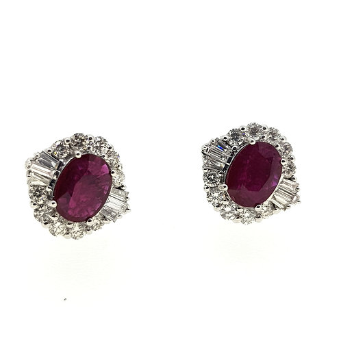 Ruby diamond cluster earrings R2.21Cts D1.0Cts
