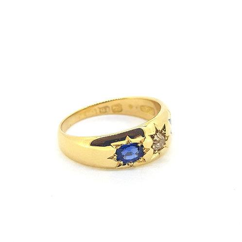 18ct Victorian sapphire and diamond three stone ring