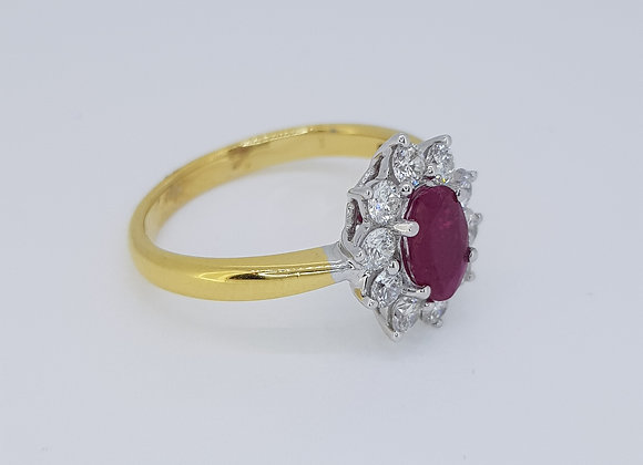 Thai ruby and diamond cluster ring r1.0ct d0.60cts