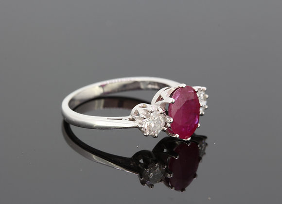 Ruby and diamond three stone ring r1.90 cts d.50cts